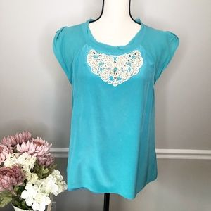 TIBI New York silk blue beaded front blouse